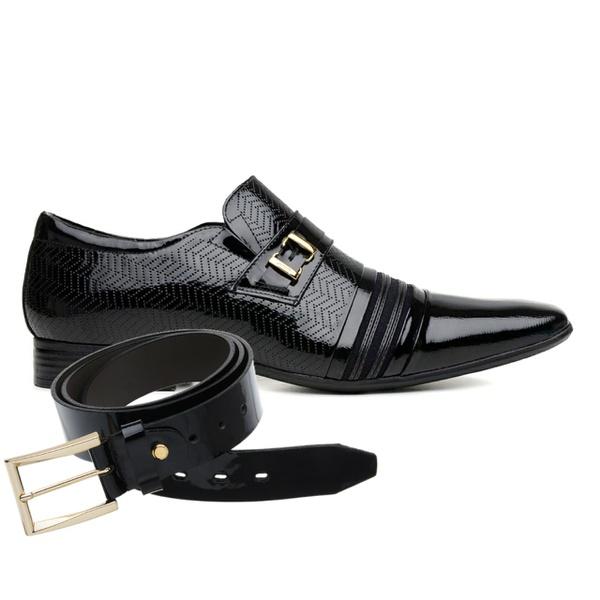 Sapato Social Jota Pe Verniz Preto Boss Gold + Cinto de Verniz