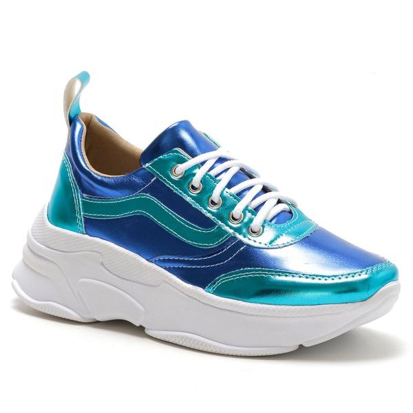 Tênis Feminino Sneaker Chunky Azul Verde Metalizado