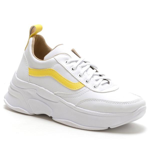 Tênis Feminino Sneaker Chunky Branco Amarelo