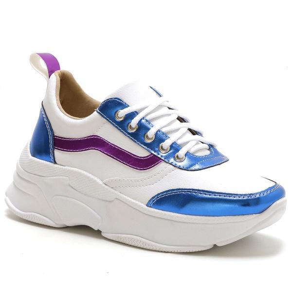 Tênis Feminino Sneaker Chunky Azul Roxo Metalizado
