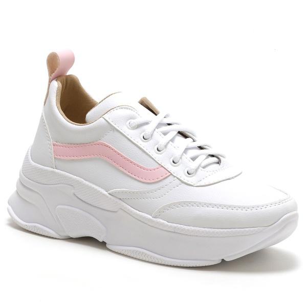 Tênis Feminino Sneaker Chunky Branco Rosa