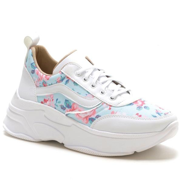 Tênis Feminino Sneaker Chunky Floral Azul