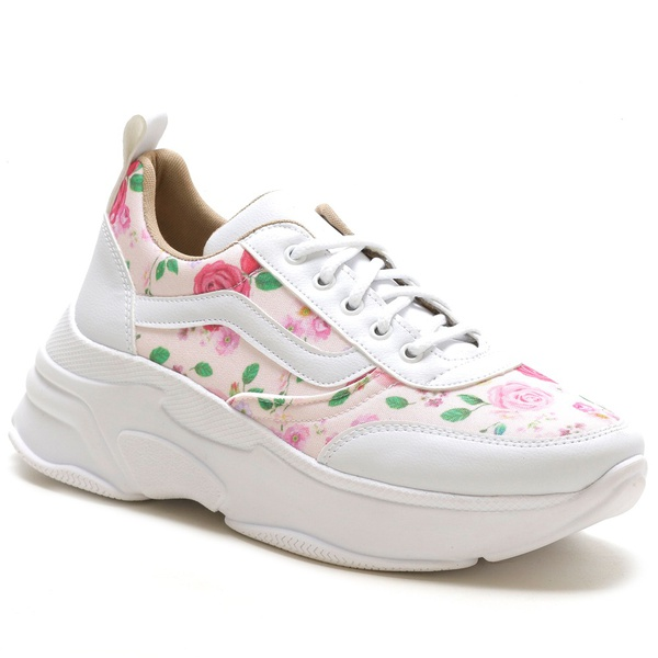 Tênis Feminino Sneaker Chunky Floral Rosa