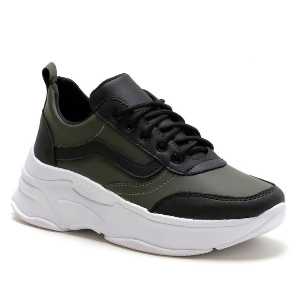 Tênis Feminino Sneaker Chunky Verde Preto