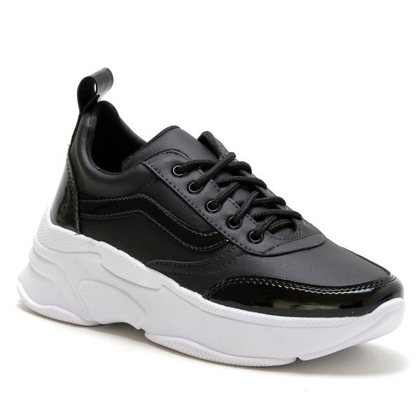 Tênis Feminino Sneaker Chunky Preto com verniz