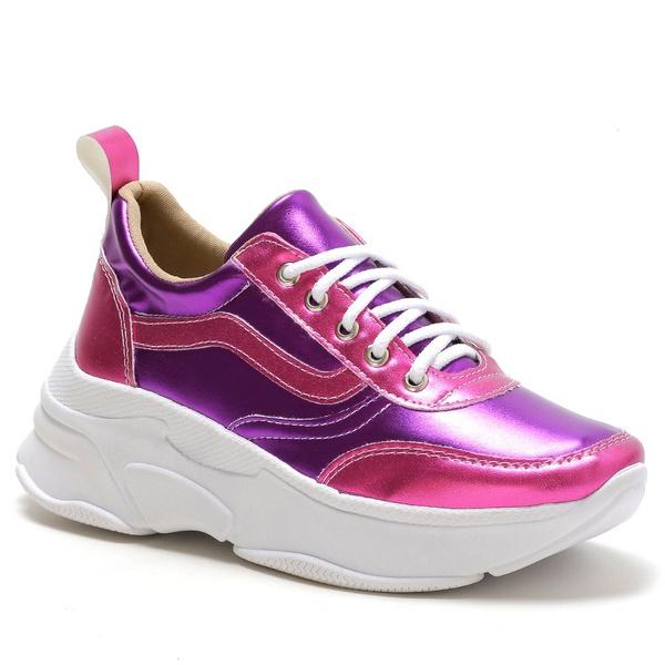 Tênis Feminino Sneaker Chunky Roxo Rosa Metalizado