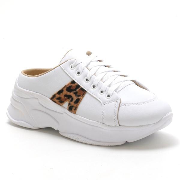 Tênis Mule Feminino Sneaker Branco Onca