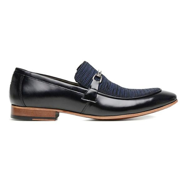 Sapato Social Couro Preto Azul Wood Tec