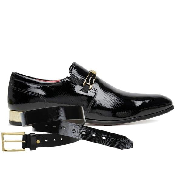 Sapato Social Jota Pe Verniz Preto Ducalle + Cinto de Verniz