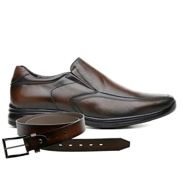 Sapato Jota Pe 3D Air Vision Couro Marrom + Cinto de Couro