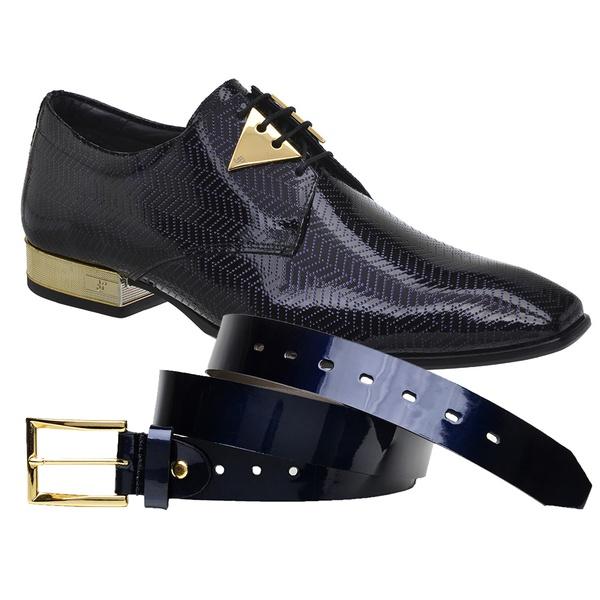 Sapato Social Jota Pe Verniz Blue Montblanc Gold + Cinto Envernizado