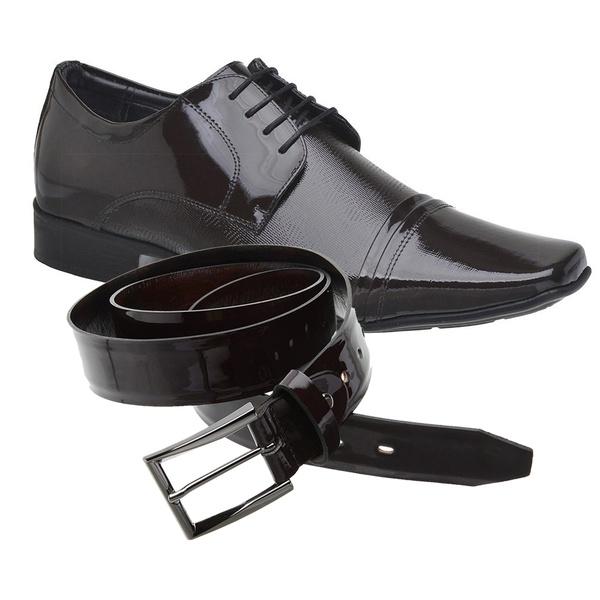Sapato Social Jota Pe Verniz Vinho Air Fillipo + Cinto Envernizado