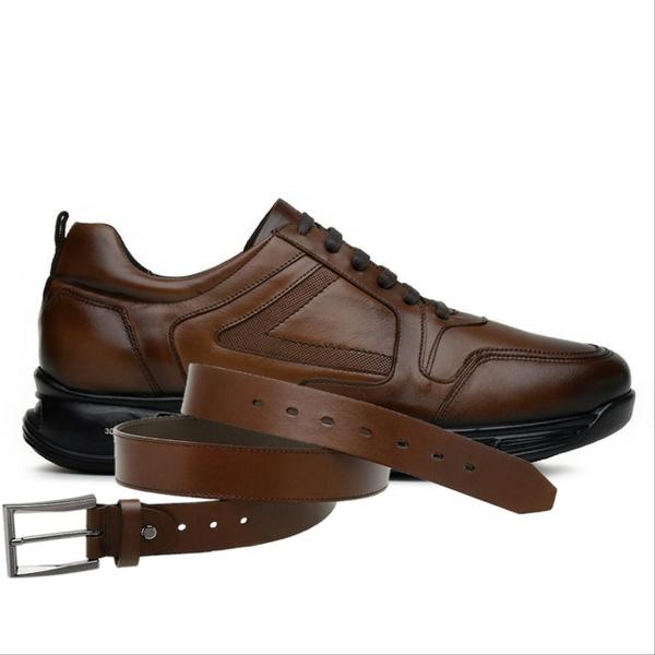 Sapato Jota Pe Marrom 3D Air Evolution + Cinto de Couro