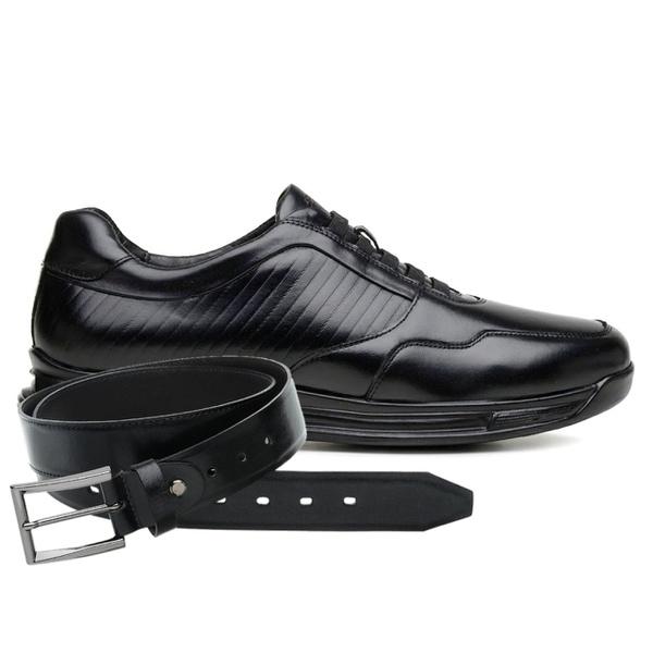 Sapato Jota Pe Preto 3D Air Evolution + Cinto de Couro