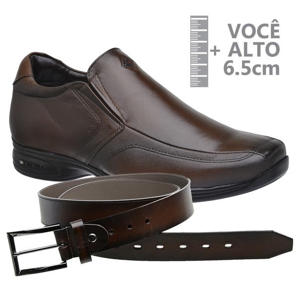 Sapato com Salto Interno Jota Pe Marrom Grow Air Vision + Cinto de Couro