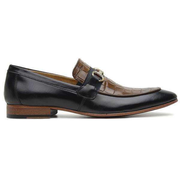 Sapato Social Preto com Caramelo Couro Laser Croco