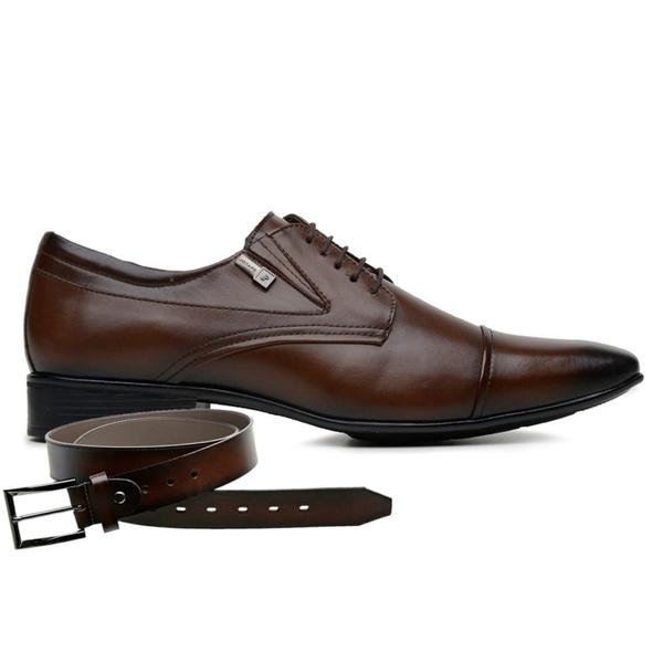 Sapato Jota Pe Marrom Couro Air Manhattan + Cinto de Couro