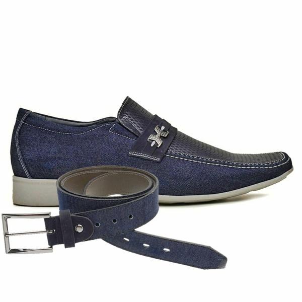 Sapato Casual Jota Pe Jeans Marinho Air + Cinto Jeans