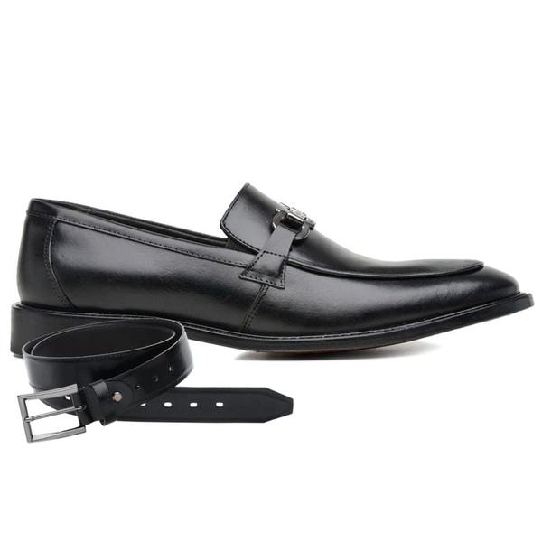 Sapato Social Couro Preto Premium Veg + Cinto de Couro