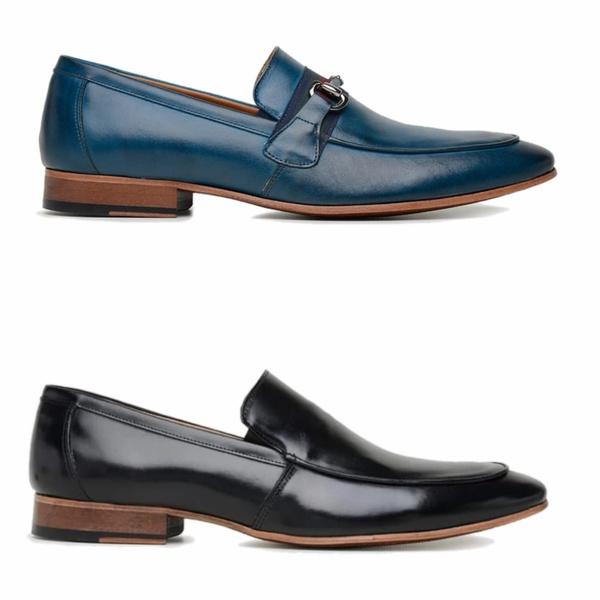 kit 2 Pares Sapato Social Preto e Azul em Couro