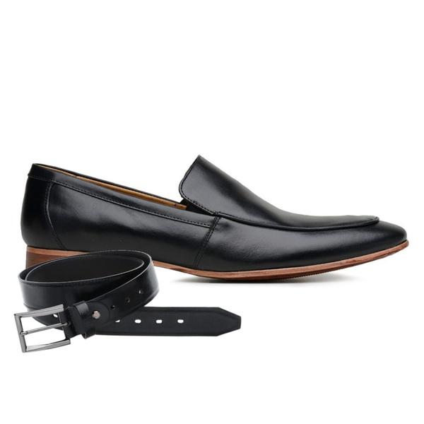 Sapato Social Preto Couro Veg + Cinto de Couro
