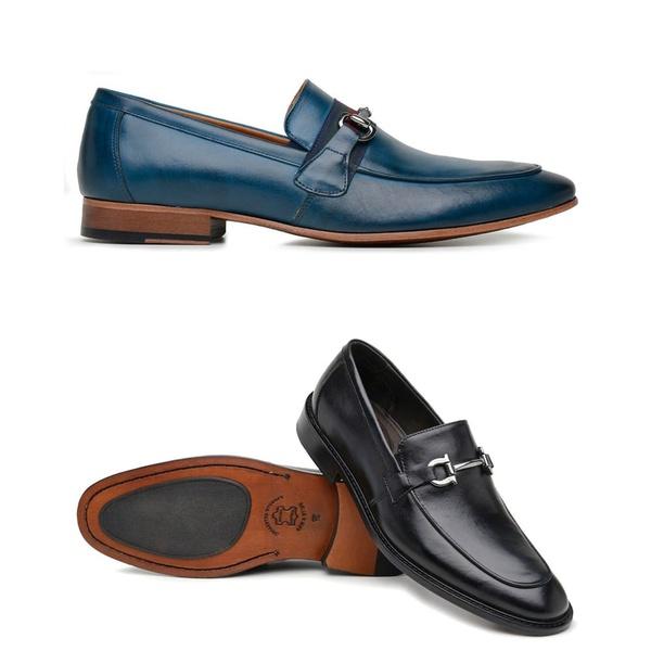 kit 2 Pares Sapato Social Azul e Preto em Couro