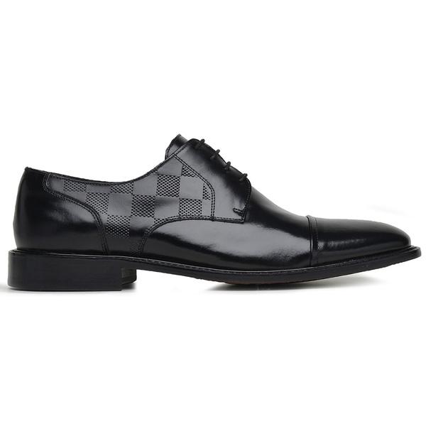 Sapato Social Couro Preto Wood Estampa Dama