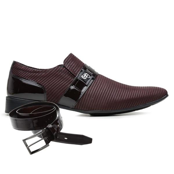 Sapato Social Jota Pe Vinho Air Phoenix Detroit + Cinto de Verniz