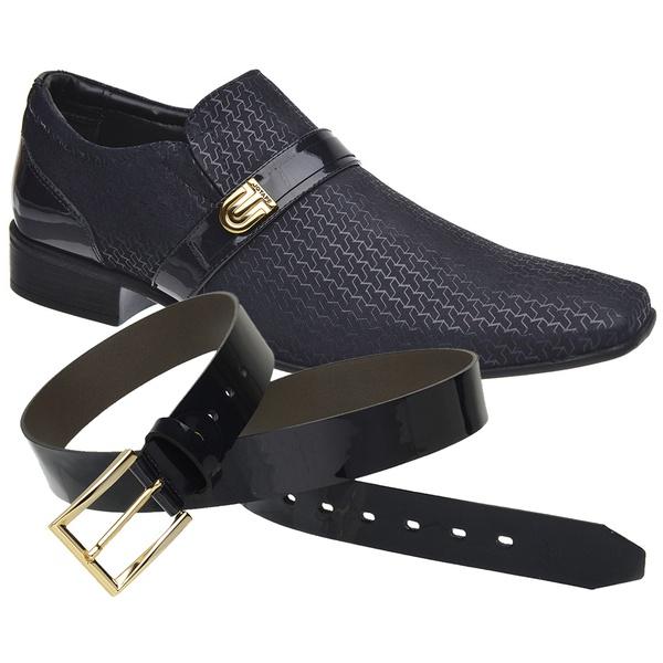 Sapato Social Jota Pe Marinho Air Phoenix + Cinto Envernizado