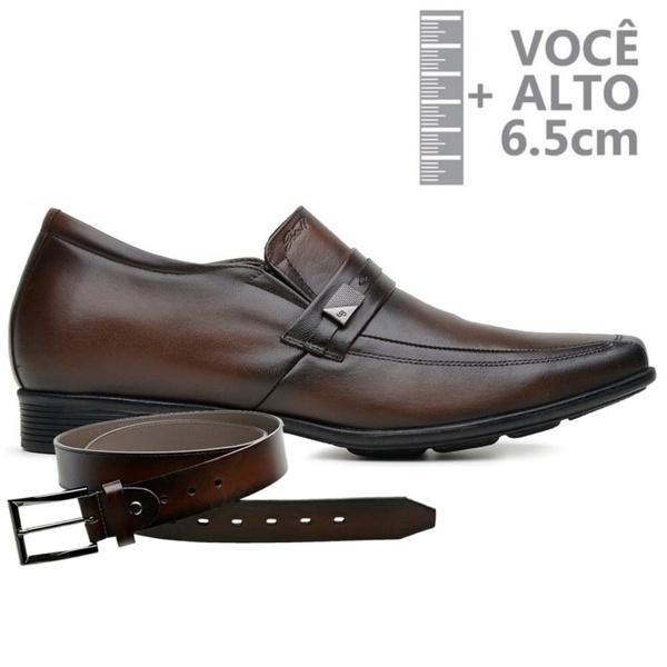 Sapato com Salto Interno Jota Pe Marrom Couro Grow Air + Cinto de Couro