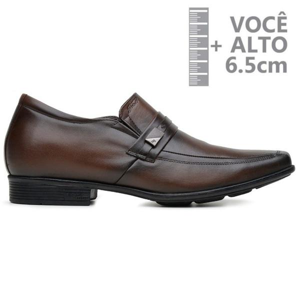 Sapato com Salto Interno Jota Pe Marrom Couro Grow Air