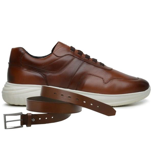 Sapato Jota Pe Marrom 3D Air Evoque XS + Cinto de Couro