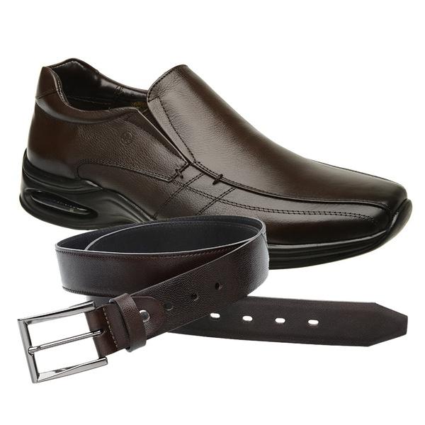 Sapato Jota Pe Marrom Air Life + Cinto de Couro