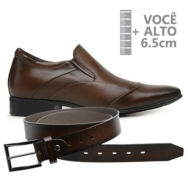 Sapato com Salto Interno Jota Pe Marrom Grow Air Manhattan + Cinto de Couro