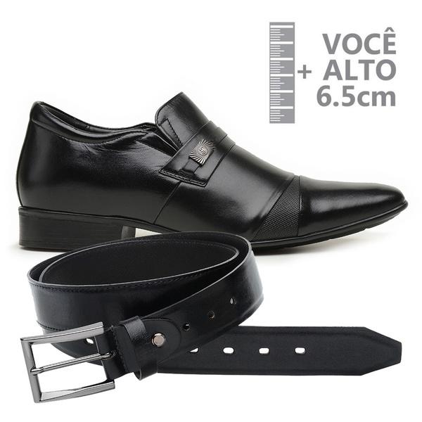 Sapato com Salto Interno Jota Pe Preto Grow Air Manhattan + Cinto de Couro