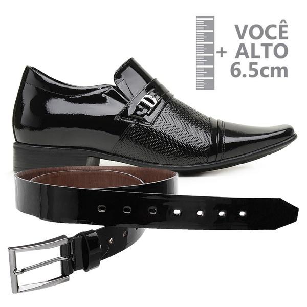 Sapato com Salto Interno Jota Pe Verniz Preto Grow Air + Cinto de Verniz