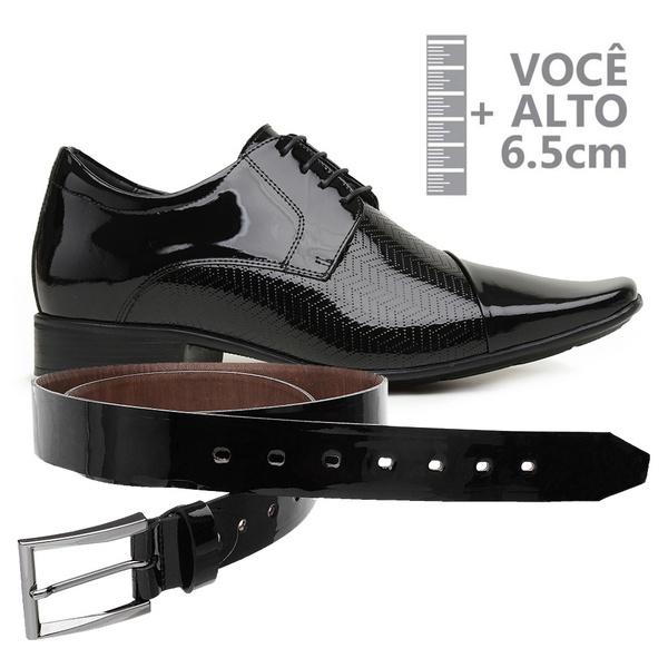Sapato com Salto Interno Jota Pe Verniz Preto Grow Air Fillipo + Cinto de Verniz