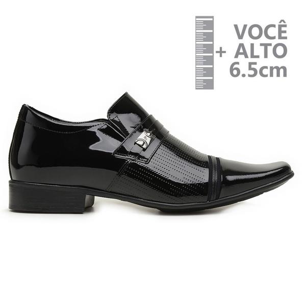 Sapato com Salto Interno Jota Pe Verniz Preto Grow Air Fergus