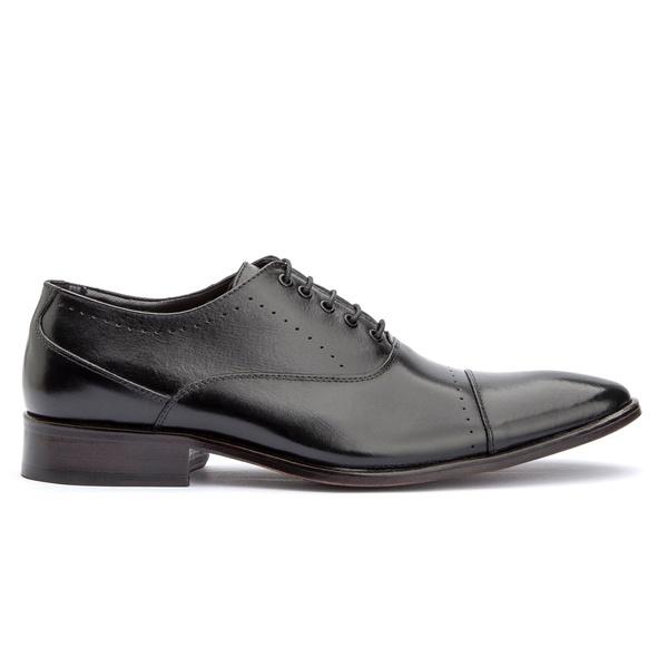 Sapato Social Preto de Amarrar Sola de Couro