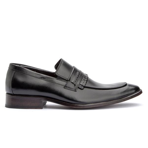 Sapato Social Preto Loafer Gravata Sola de Couro