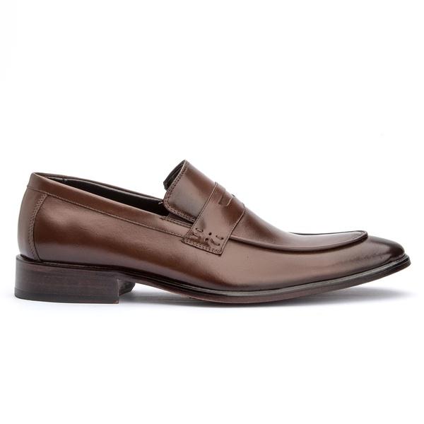 Sapato Social Marrom Mouro Loafer Sola de Couro