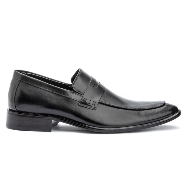 Sapato Social Preto Loafer Sola de Couro