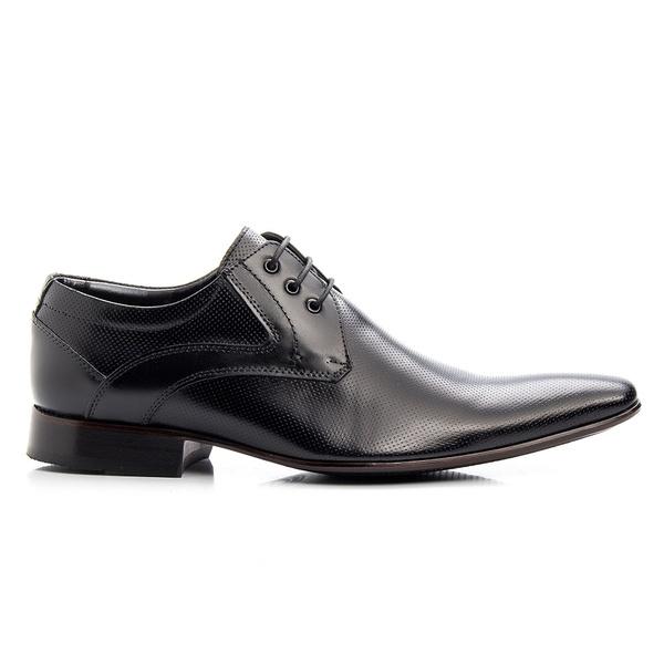 Sapato Social Preto em Couro de Amarrar em laser