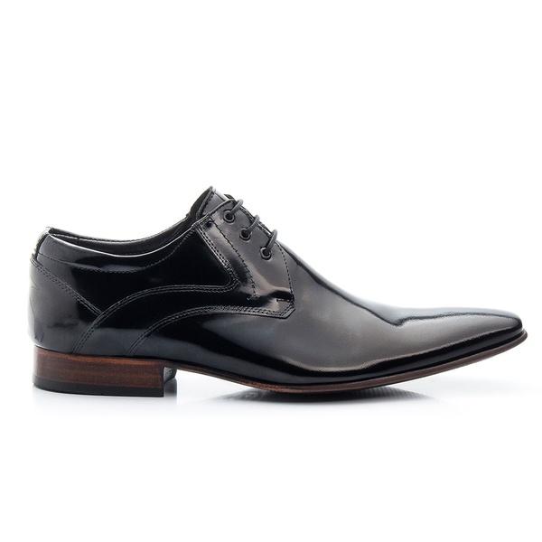 Sapato Social Verniz Preto de Amarrar Sola de Couro