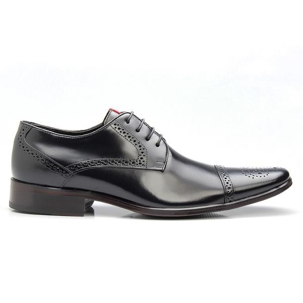Sapato Social Preto Brogue de Amarrar
