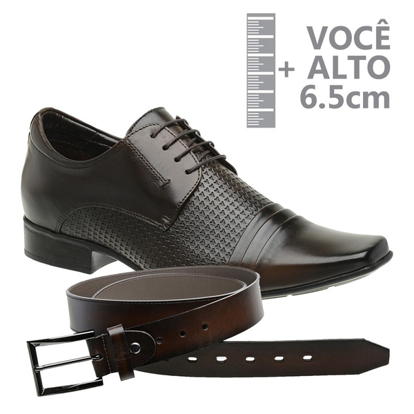 Sapato com Salto Interno Jota Pe Marrom Grow Air + Cinto