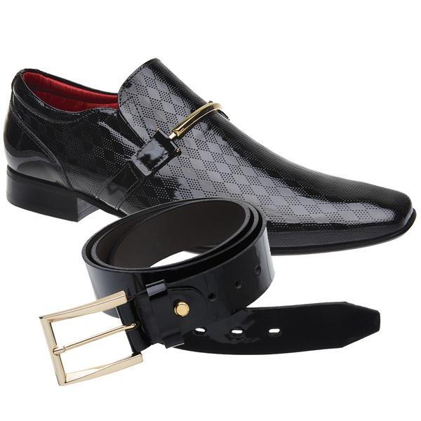 Sapato Social Verniz Jota Pe Preto Sola de Couro + Cinto Envernizado