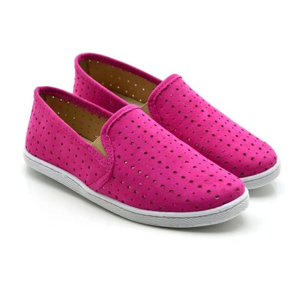 Tênis Slip On Feminino Rosa Pink Estampa Conforto