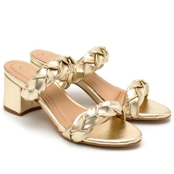Sandália Dourada salto grosso médio Metalizada