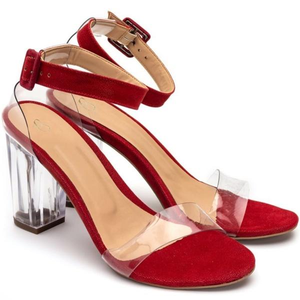 Sandália Vermelha Salto Transparente Julia Andara